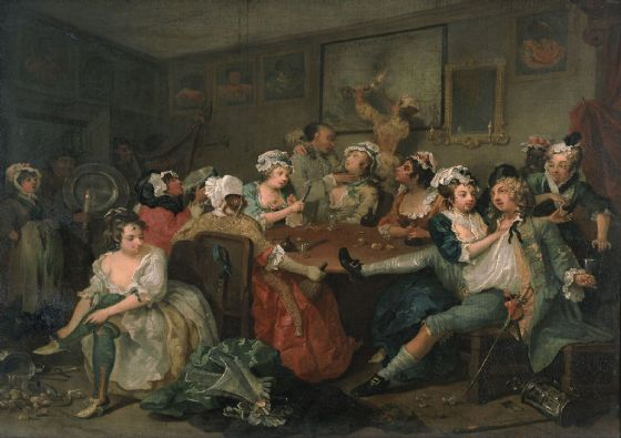 Hogarth, William. A Rake's Progress III: The Rake at the Rose-Tavern. Fine Art Print/Poster. Sizes: A4/A3/A2/A1 (003205)